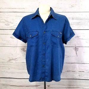 Calvin Klein Y2K Retro Blue Linen Button Down Top